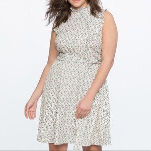 Eloquii Mandarin Collar Fit and Flare Dress